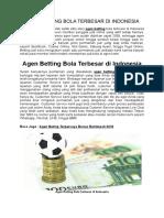 Agen Betting Bola Terbesar Di Indonesia