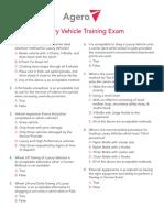 Agero Luxury Vehicle Training Exam