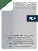Adolfo Sánchez Vázquez. Estética - VV.aa