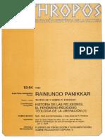Raimundo Panikkar. Historia de Las Religiones - VV.aa