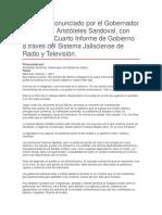 Cuarto Informe de Gobierno a Través Del Sistema Jalisciense de Radio y Televisión