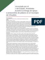 Entrega de Apoyo a Productores de Plátano en El Municipio de Cihuatlán