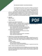 Plan de Trabajo Para Reclutamiento y Selección de Personal