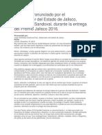Entrega Del Premio Jalisco 2016