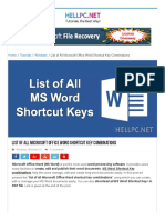 Www Hellpc Net List of All Microsoft Office Word Shortcut Key Combinations