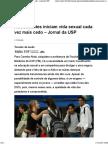 Adolescentes iniciam vida sexual cada vez mais cedo – Jornal da USP