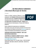 Unidades de Recursos Humanos _ Secretaria Municipal de Gestão