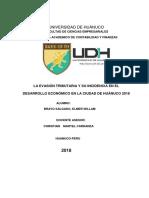 Evasión de impuestos y su incidencia en el desarrollo económico de la ciudad de Huánuco  2018