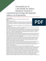 Ceremonia de Entrega Del Galardón Jalisco a La Exportación