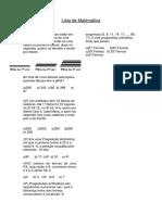 Lista de Matemática 1º Ano - Vespertino