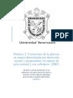 Práctica 2. Variaciones de la glucosa en sangre determinada por dextrostix (ayuno y posprandial), en sujetos de peso normal y con sobrepeso  (IMC)