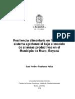 Resiliencia Alimentaria en Fincas Con Sistema Agroforestal Bajo El Modelo de Alianzas Productivas