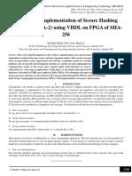 Low Power Implementation of Secure Hashing Algorithm (SHA-2) using VHDL on FPGA of SHA-256