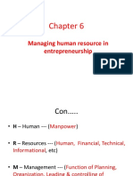 Chapter 6, Managing Human Resource in Entrepreneurship