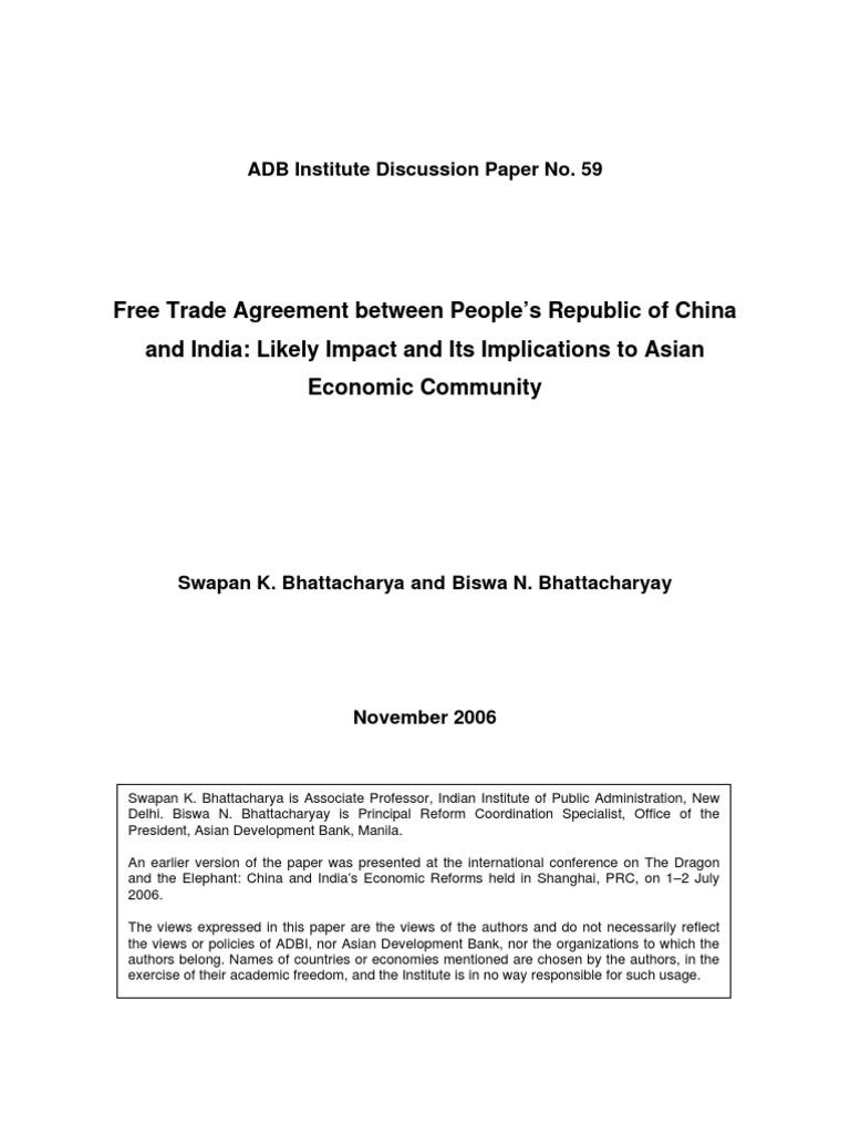 Adbi Biswa India China Fta Dp59eeadereement World Trade
