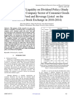 The Influence of Liquidity on Dividend Policy (Study in Manufacturing Company Sector of Consumer Goods Sub Sector Food and Beverage Listed on the Indonesian Stock Exchange in 2010-2014)
