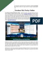 Cara Pasang Taruhan Mix Parlay Online
