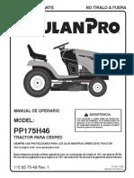 Manual Operador Tractor Poulan Pro PP175H46