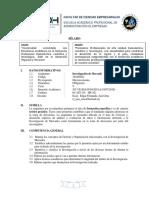 Sílabo Curso de Investigacion de Mercado 2018-i