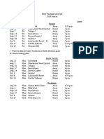 Unity Football Schedule 2018