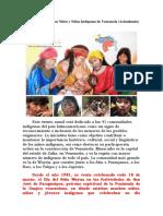 18 de Marzo Día de Los Niños y Niñas Indígenas de Venezuela