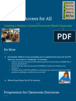 day 2- access for all  creating a student centered discourse based classroom