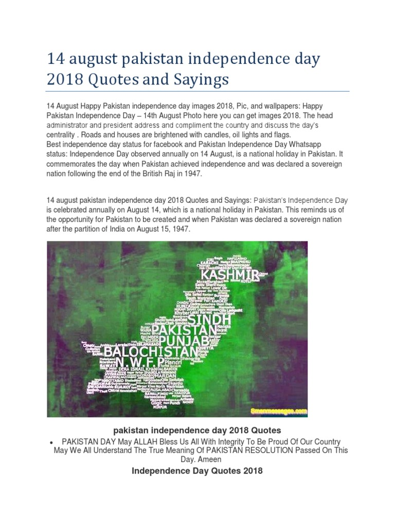 14 August Pakistan Independence Day 2018 Quotes And