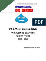 Plan de Gobierno Provincia de Oxapampa, Región Pasco 2019 - 2022