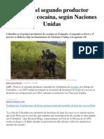 Perú Es El Segundo Productor Mundial de Cocaína