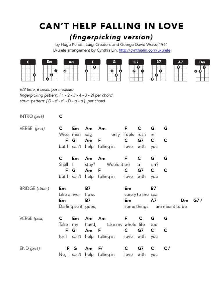CAN'T HELP FALLING in LOVE Fingerpicking   Ukulele Chord Chart ...