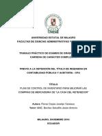 """Plan de Control de Inventario Para Mejorar Las Compras de Mercaderia de """"La Casa Del Retenedor"""""""