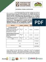 Acta de Entrega y Recibo a Satisfacción Asociación Insumos Castillo