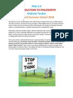 Phil S-4- Introduction to Philosophy Course Description Summer 2018