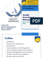 Basic Concept of q y Uality Assurance