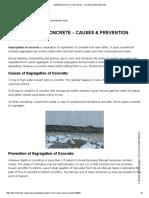 Segregation of Concrete - Causes & Prevention