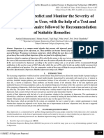 A System to Predict and Monitor the Severity of Depression in the User, with the help of a Text and Image Questionnaire followed by Recommendation of Suitable Remedies