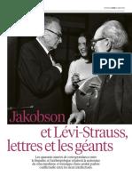 40 ans de correspondance Levi-Strauss/ Jakobson