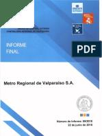Informe Final 89-18 Metro Regional de Valparaíso s.a. Sobre Auditoría Al Cumplimiento de Los Contratos de Asistencia Técnica y Mantenimiento - Junio 2018