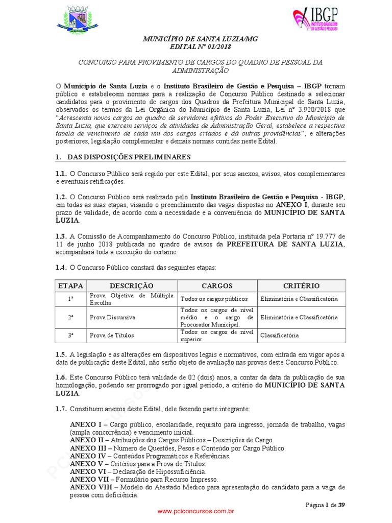 4ca166f89 Edital de Abertura n 01 2018 Prefeitura de santa luzia