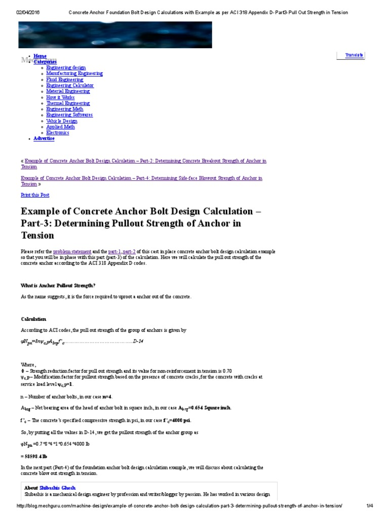 Concrete Anchor Foundation Bolt Design Calculations With