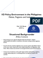 Prof. Eleazar Ricote IID Policy Environment in the Philippines