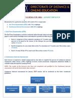 Internal Assessment Schema for MBA - January 2018