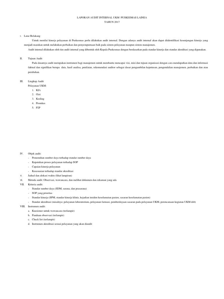 Laporan Audit Internal Ukm Puskesmas