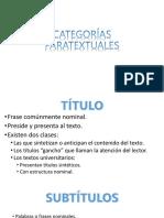 CATEGORÍAS PARATEXTUALES
