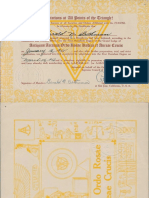 Antiquus Arcanus Ordo Rosae Rubeae Et Aureae Crucis Certificate 1955