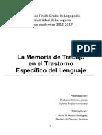 La Memoria de Trabajo en El Trastorno Especifico Del Lenguaje