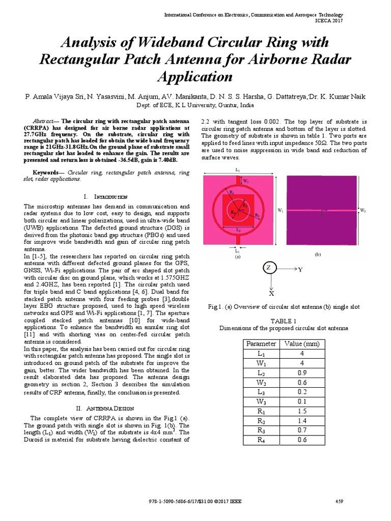 Analysis of Wideband Circular Ring With   Radar   Antenna