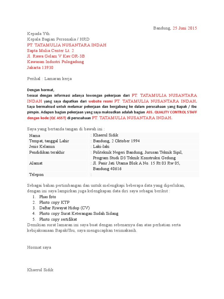 Surat Lamaran Kerja Pt Tatamulia Nusantara Indah Qc Asst