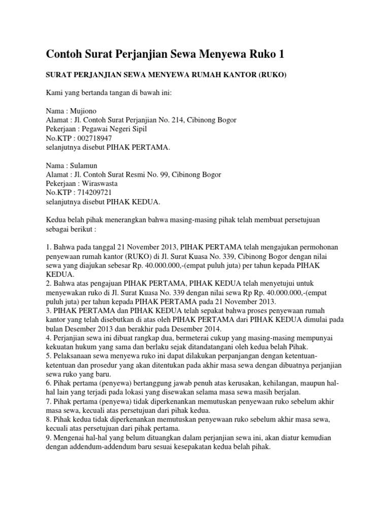 Contoh Surat Perjanjian Sewa Menyewadocx