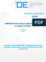Redistribución de la renta per cápita de los hogares por regiones en España